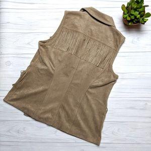 Chico's Jackets & Coats - Chico's Faux Suede Moto Zip Fringe Western Vest
